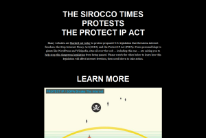 PROTEST: The Sirocco Times blacked out to protest proposed internet regulation bills.
