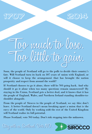 """BETTER TOGETHER: The Government has urged Scots to vote """"no"""" in today's referendum on Scottish independence."""